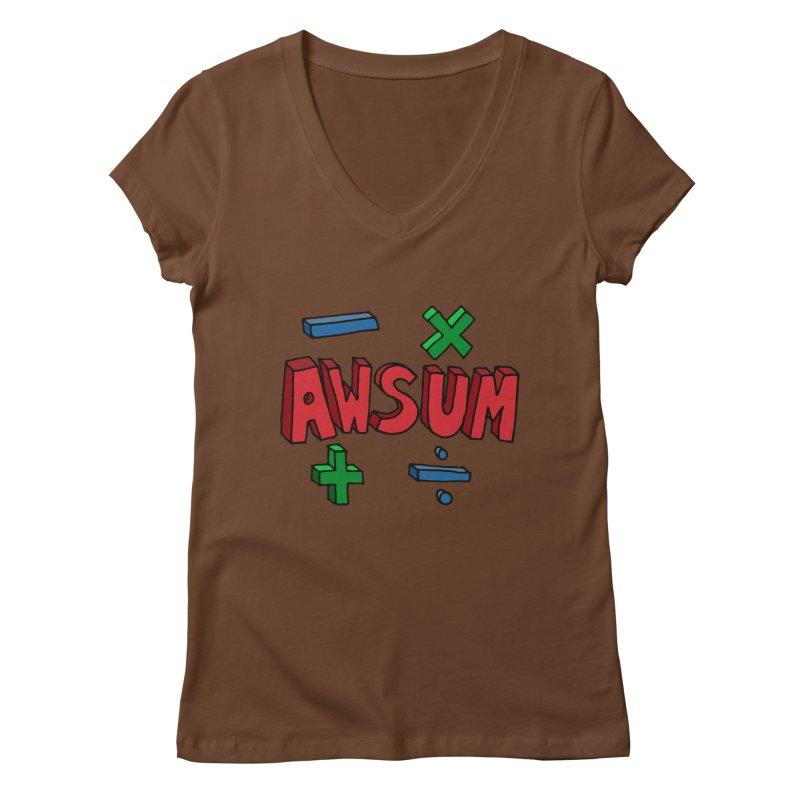 AwSum Women's Regular V-Neck by Kelsorian T-shirt Shop