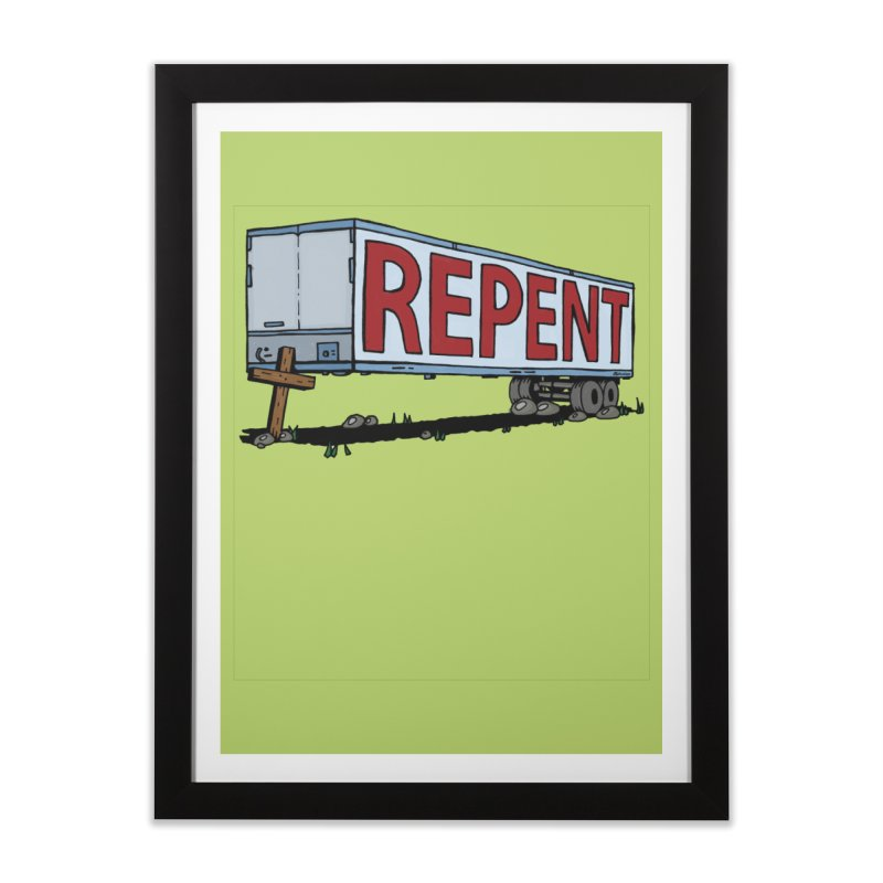 Repent Cross Trailer Home Framed Fine Art Print by Kelsorian T-shirt Shop