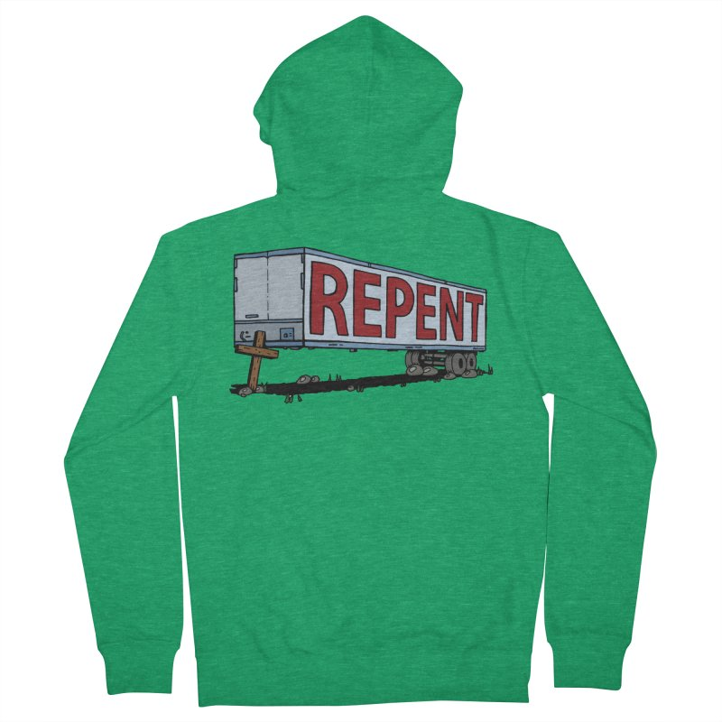 Repent Cross Trailer Women's Zip-Up Hoody by Kelsorian T-shirt Shop