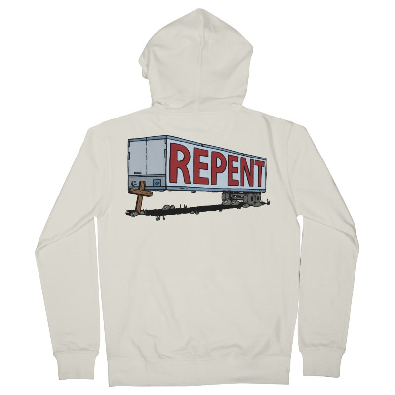 Repent Cross Trailer Women's French Terry Zip-Up Hoody by Kelsorian T-shirt Shop