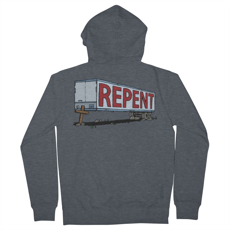 Repent Cross Trailer Men's French Terry Zip-Up Hoody by Kelsorian T-shirt Shop