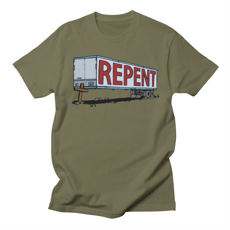 Repent Cross Trailer Men's Regular T-Shirt by Kelsorian T-shirt Shop