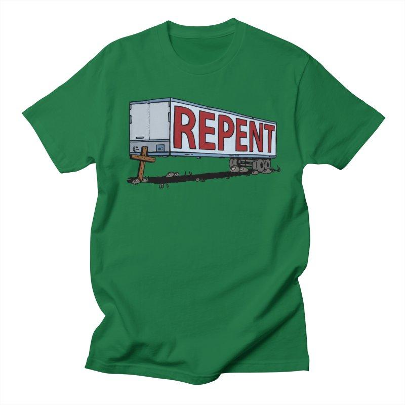 Repent Cross Trailer Men's T-shirt by Kelsorian T-shirt Shop