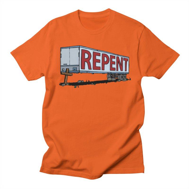 Repent Cross Trailer Men's Regular T-Shirt by Kelsorian T-shirt Shop