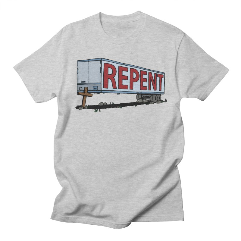 Repent Cross Trailer in Men's Regular T-Shirt Heather Grey by Kelsorian T-shirt Shop