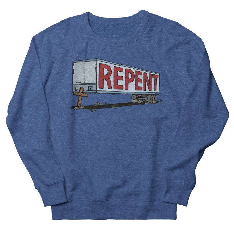 Repent Cross Trailer Women's French Terry Sweatshirt by Kelsorian T-shirt Shop