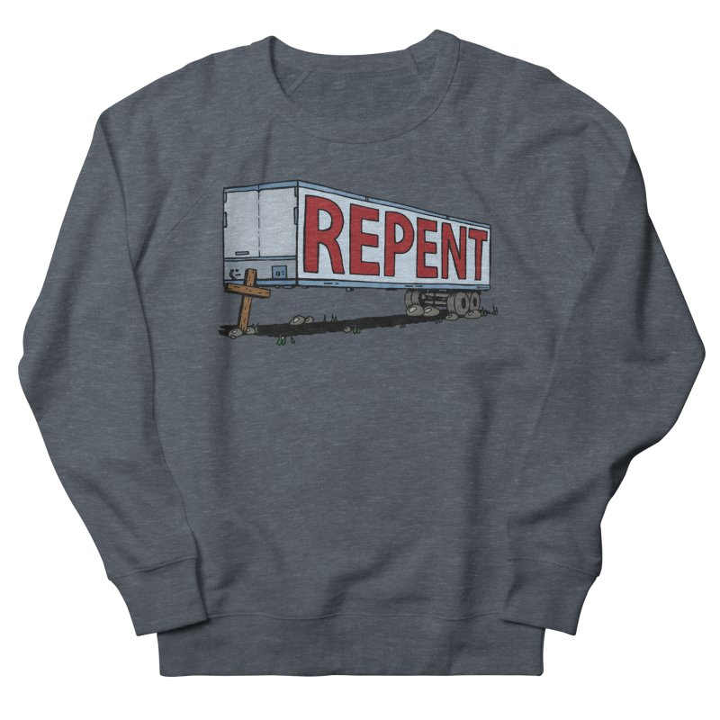 Repent Cross Trailer Men's French Terry Sweatshirt by Kelsorian T-shirt Shop
