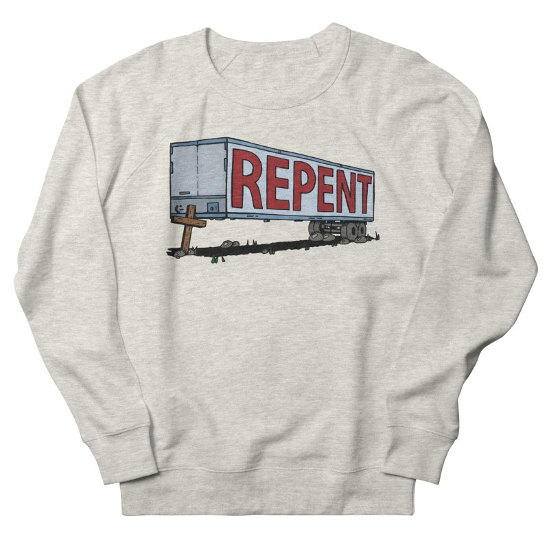 Repent Cross Trailer Men's French Terry Sweatshirt by Kelsorian T-shirt Shop
