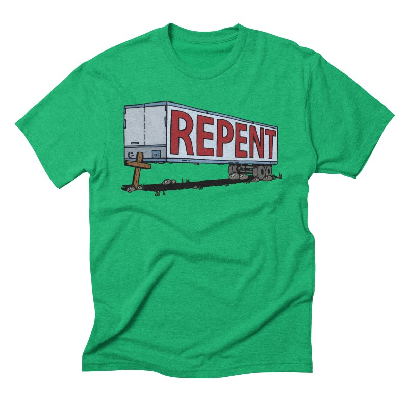 Repent Cross Trailer Men's Triblend T-Shirt by Kelsorian T-shirt Shop