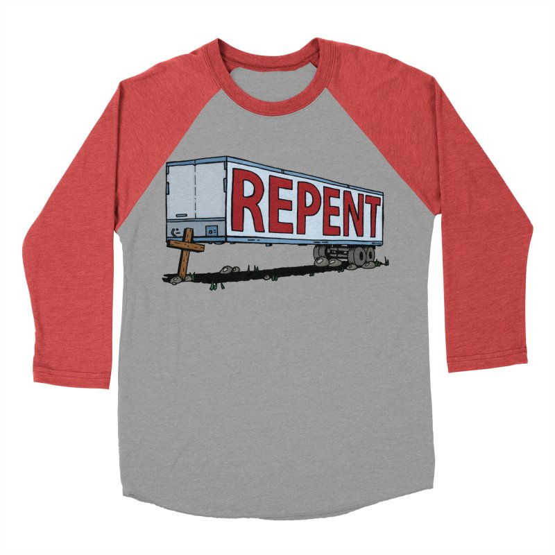 Repent Cross Trailer Women's Baseball Triblend T-Shirt by Kelsorian T-shirt Shop
