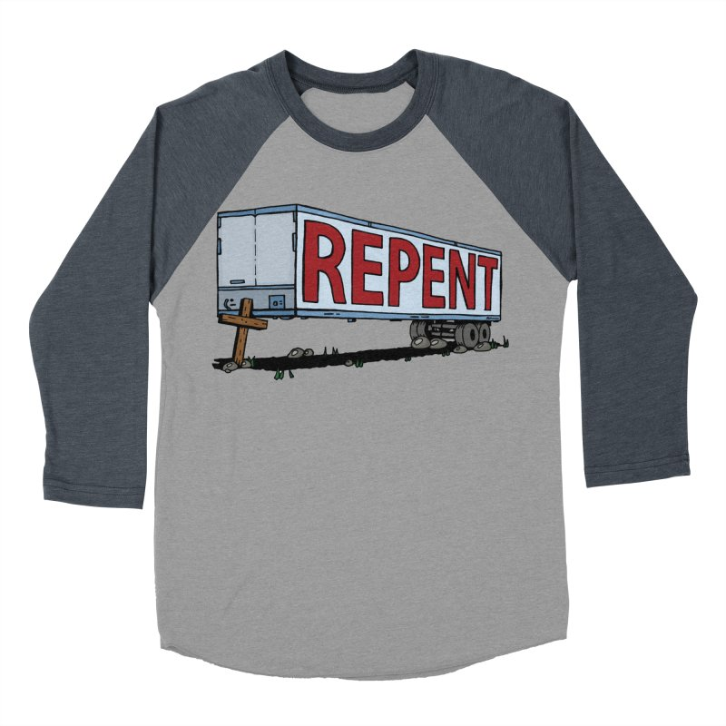 Repent Cross Trailer Men's Baseball Triblend T-Shirt by Kelsorian T-shirt Shop