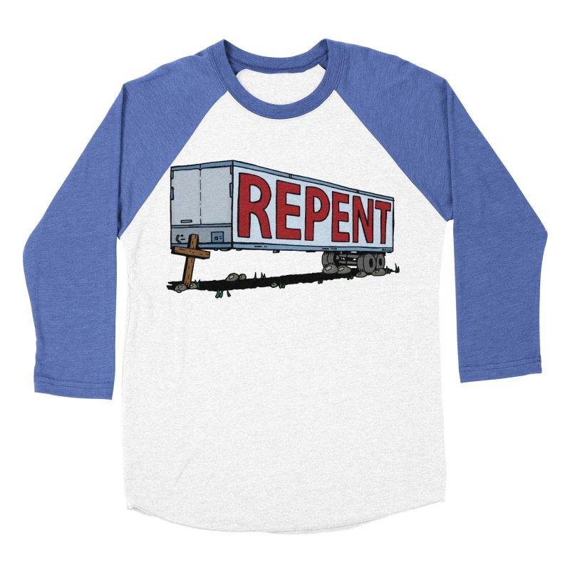 Repent Cross Trailer Men's Baseball Triblend Longsleeve T-Shirt by Kelsorian T-shirt Shop