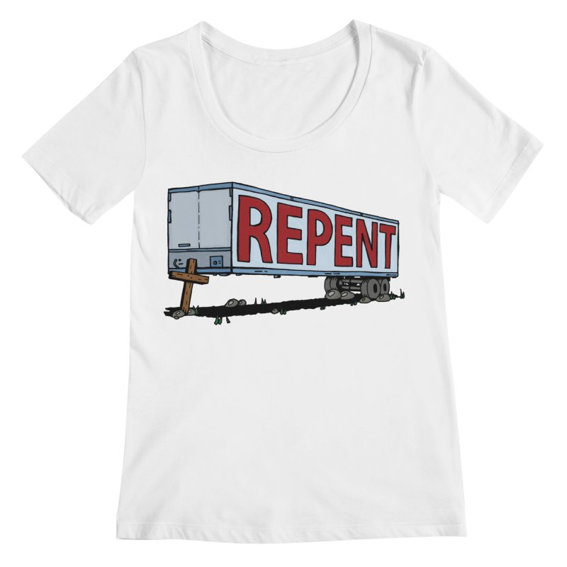 Repent Cross Trailer Women's Regular Scoop Neck by Kelsorian T-shirt Shop