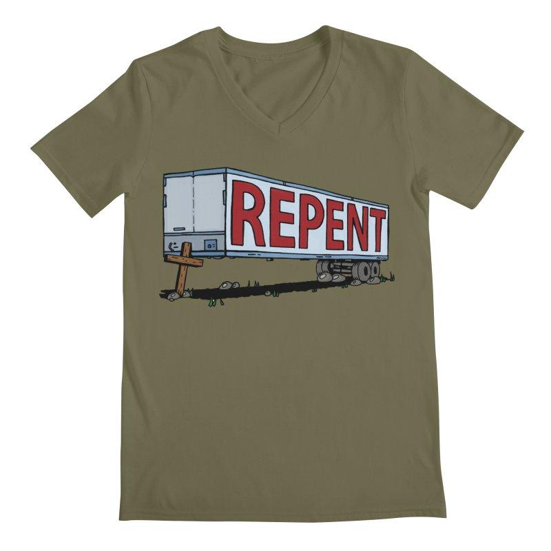 Repent Cross Trailer Men's Regular V-Neck by Kelsorian T-shirt Shop