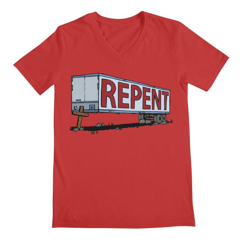 Repent Cross Trailer Men's V-Neck by Kelsorian T-shirt Shop