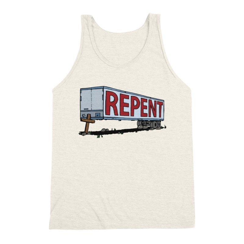 Repent Cross Trailer Men's Triblend Tank by Kelsorian T-shirt Shop