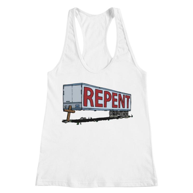 Repent Cross Trailer Women's Racerback Tank by Kelsorian T-shirt Shop