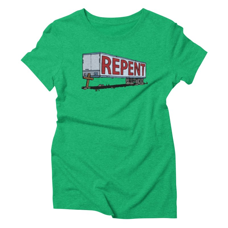 Repent Cross Trailer Women's T-Shirt by Kelsorian T-shirt Shop