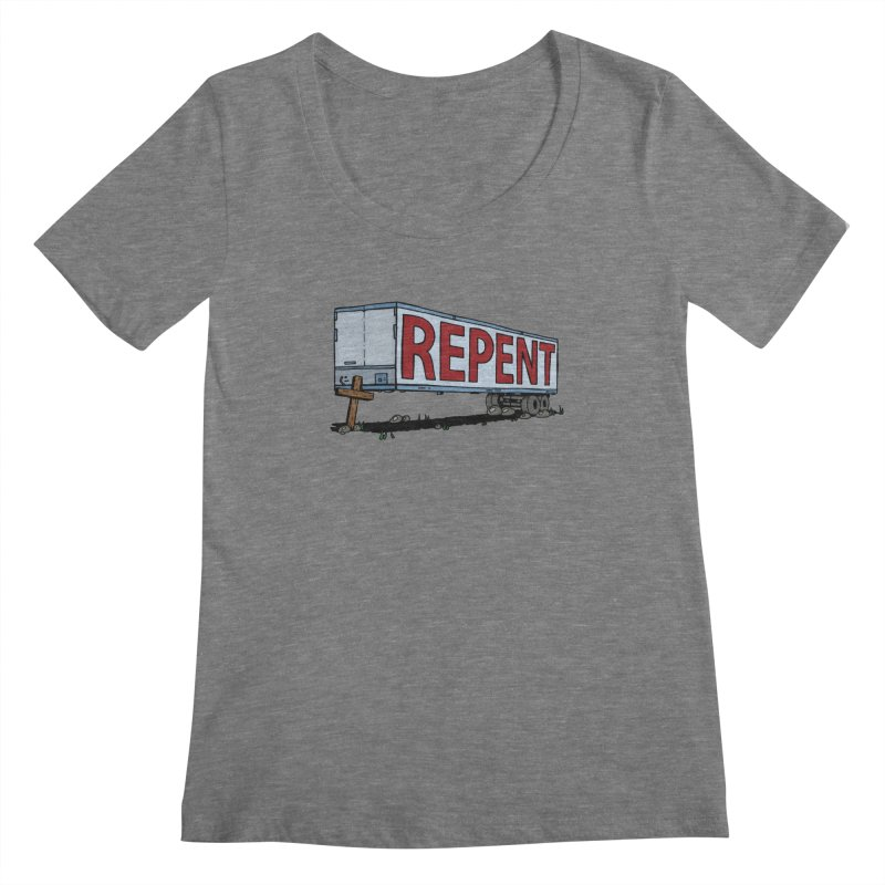 Repent Cross Trailer Women's Scoopneck by Kelsorian T-shirt Shop