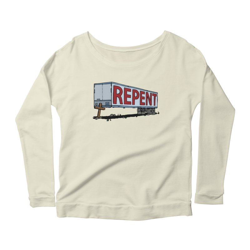 Repent Cross Trailer Women's Scoop Neck Longsleeve T-Shirt by Kelsorian T-shirt Shop