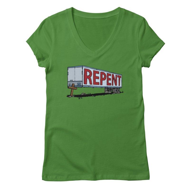 Repent Cross Trailer Women's Regular V-Neck by Kelsorian T-shirt Shop
