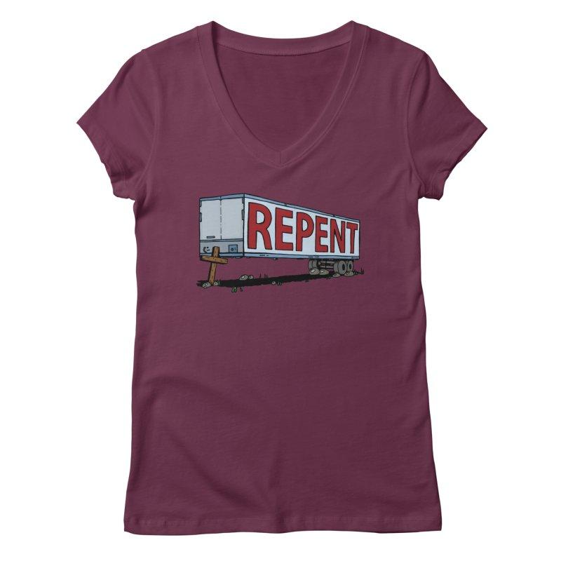 Repent Cross Trailer Women's V-Neck by Kelsorian T-shirt Shop