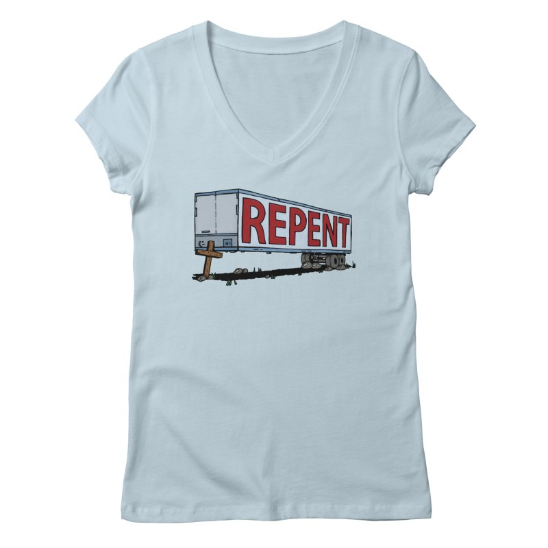 Repent Cross Trailer Women's V-Neck by Kelsorian T-shirt Shop