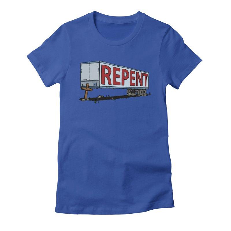 Repent Cross Trailer Women's Fitted T-Shirt by Kelsorian T-shirt Shop