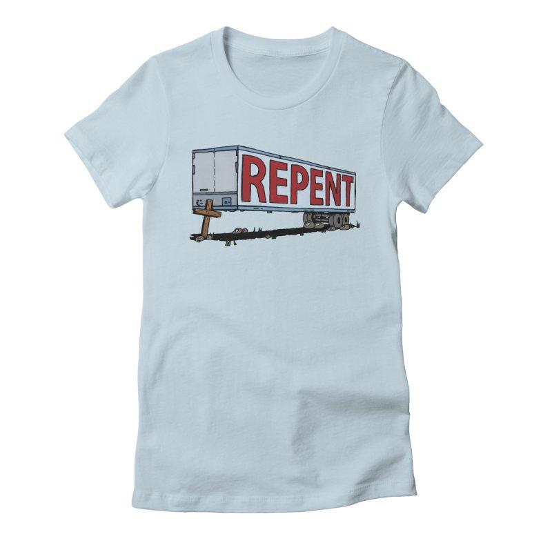 Repent Cross Trailer Women's T-Shirt by Kelsorian T-shirt Shop