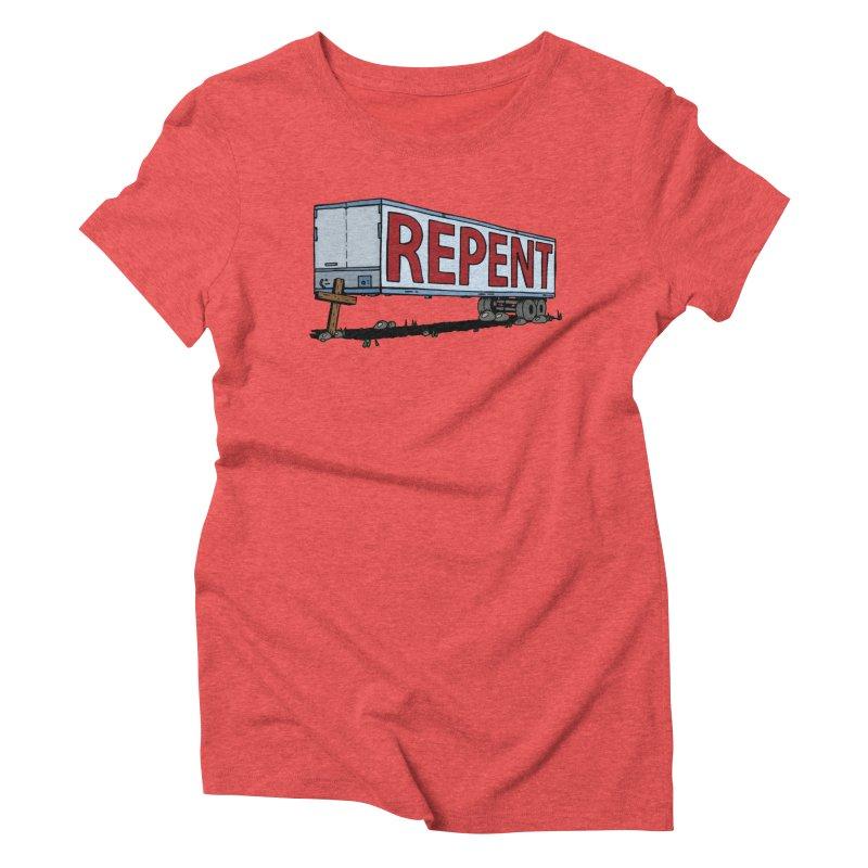 Repent Cross Trailer Women's Triblend T-Shirt by Kelsorian T-shirt Shop