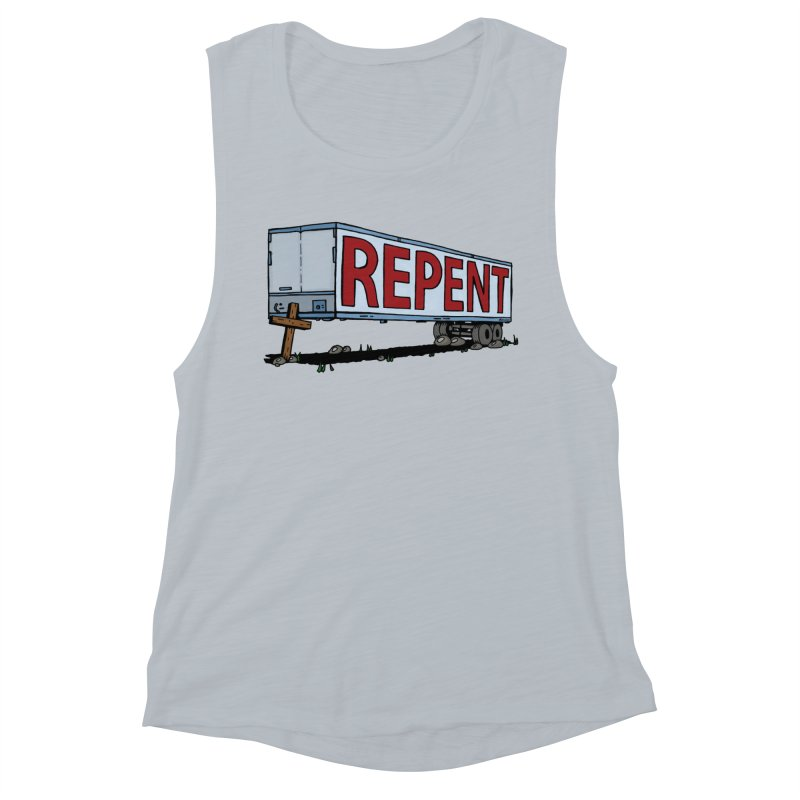 Repent Cross Trailer Women's Muscle Tank by Kelsorian T-shirt Shop