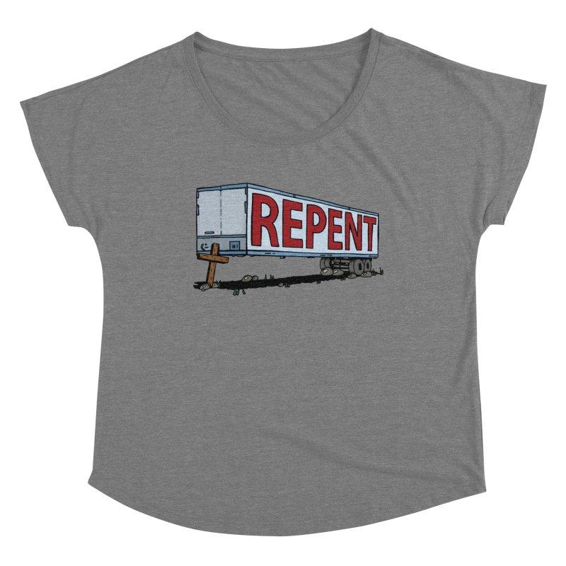 Repent Cross Trailer Women's Scoop Neck by Kelsorian T-shirt Shop