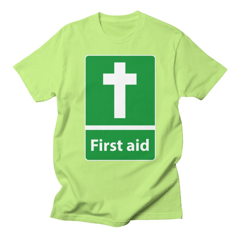 First Aid Cross in Men's Regular T-Shirt Neon Green by Kelsorian T-shirt Shop