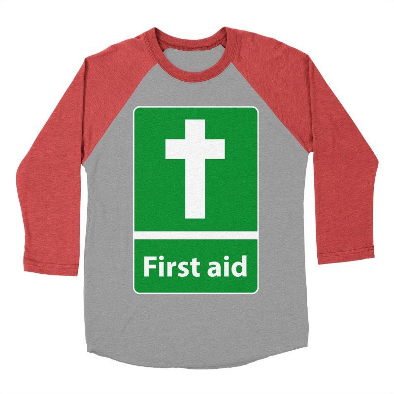First Aid Cross Men's Baseball Triblend T-Shirt by Kelsorian T-shirt Shop