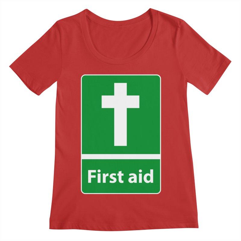 First Aid Cross Women's Regular Scoop Neck by Kelsorian T-shirt Shop