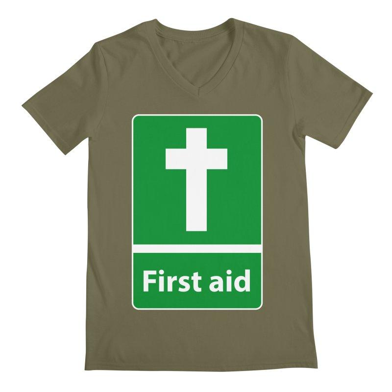 First Aid Cross Men's Regular V-Neck by Kelsorian T-shirt Shop