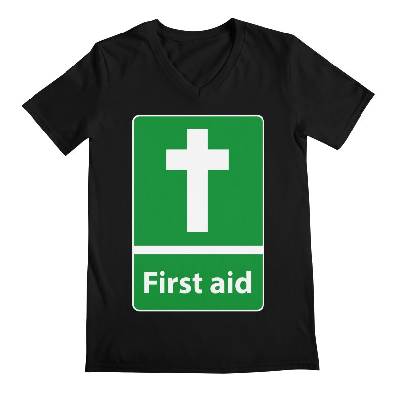 First Aid Cross Men's V-Neck by Kelsorian T-shirt Shop