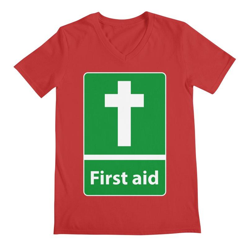 First Aid Cross Men's V-Neck by Kelsorian T-shirt Shop
