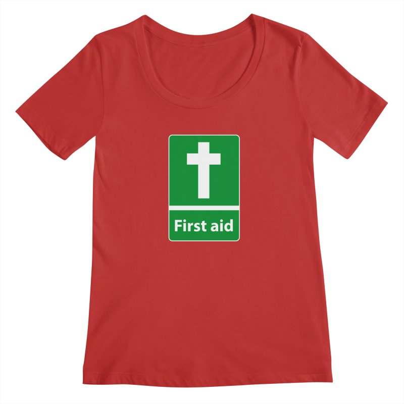 First Aid Cross Women's Scoop Neck by Kelsorian T-shirt Shop