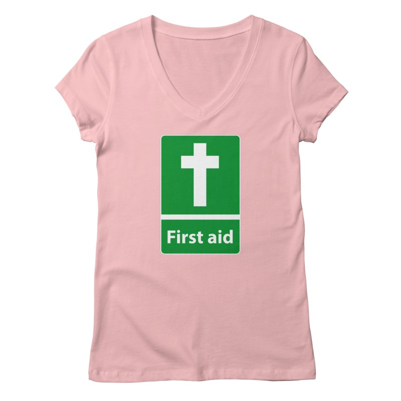 First Aid Cross Women's V-Neck by Kelsorian T-shirt Shop