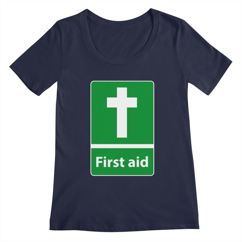 First Aid Cross Women's Regular Scoop Neck by Kelsorian T-shirt Shop