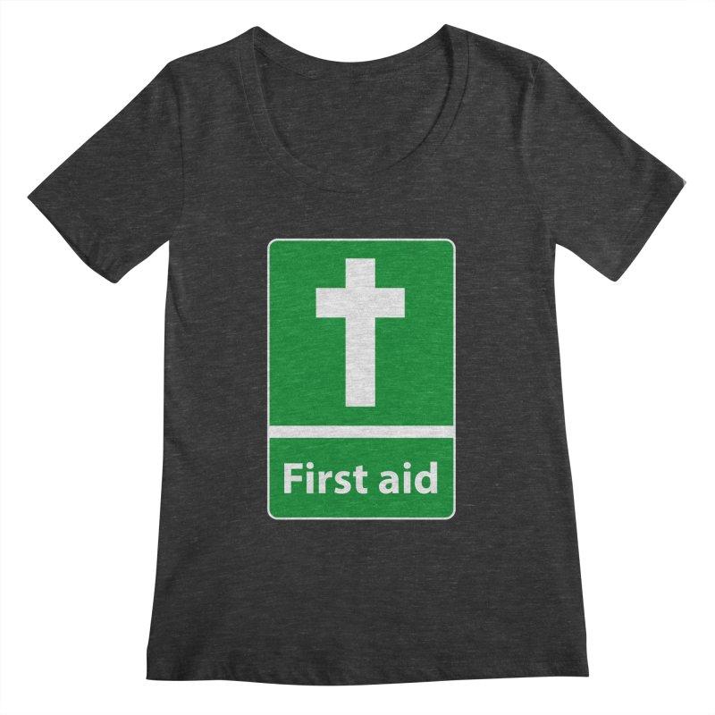 First Aid Cross Women's Scoopneck by Kelsorian T-shirt Shop