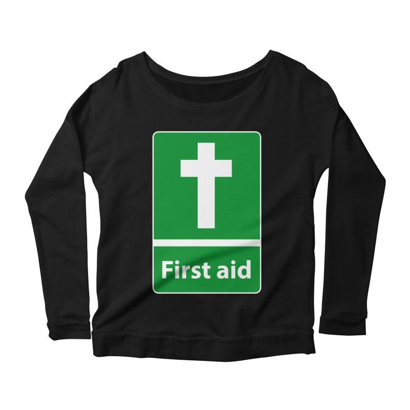 First Aid Cross Women's Scoop Neck Longsleeve T-Shirt by Kelsorian T-shirt Shop