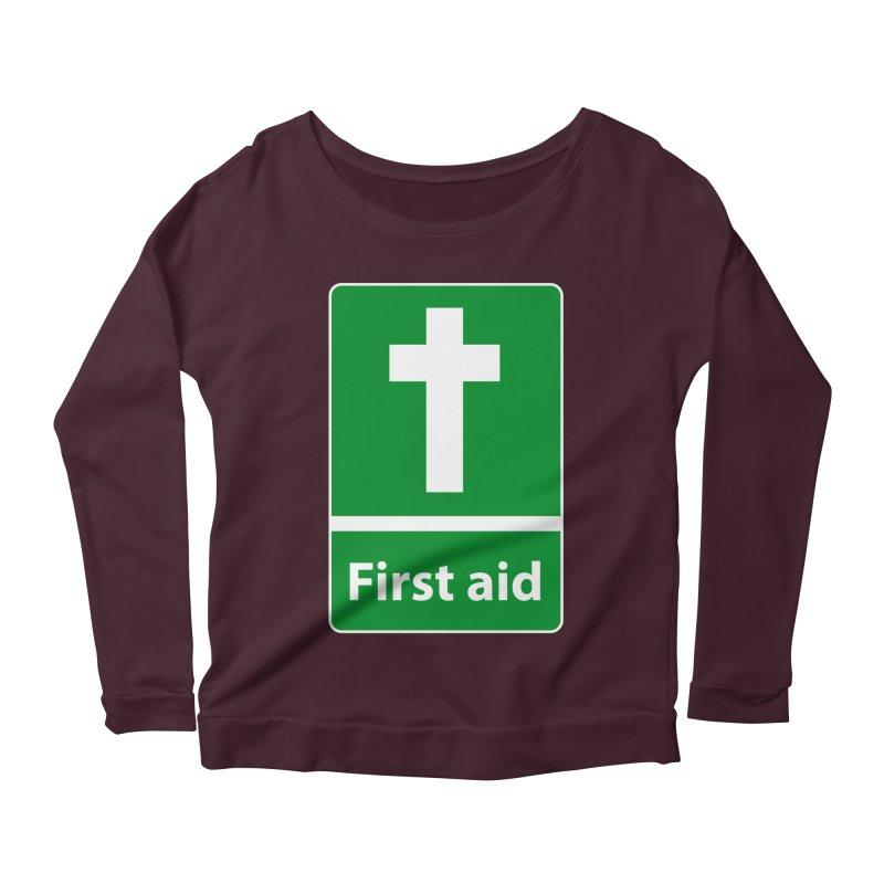 First Aid Cross Women's Longsleeve Scoopneck  by Kelsorian T-shirt Shop