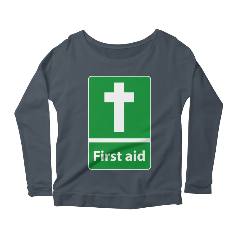 First Aid Cross Women's Scoop Neck Longsleeve T-Shirt by Kelsorian T-shirt Shop