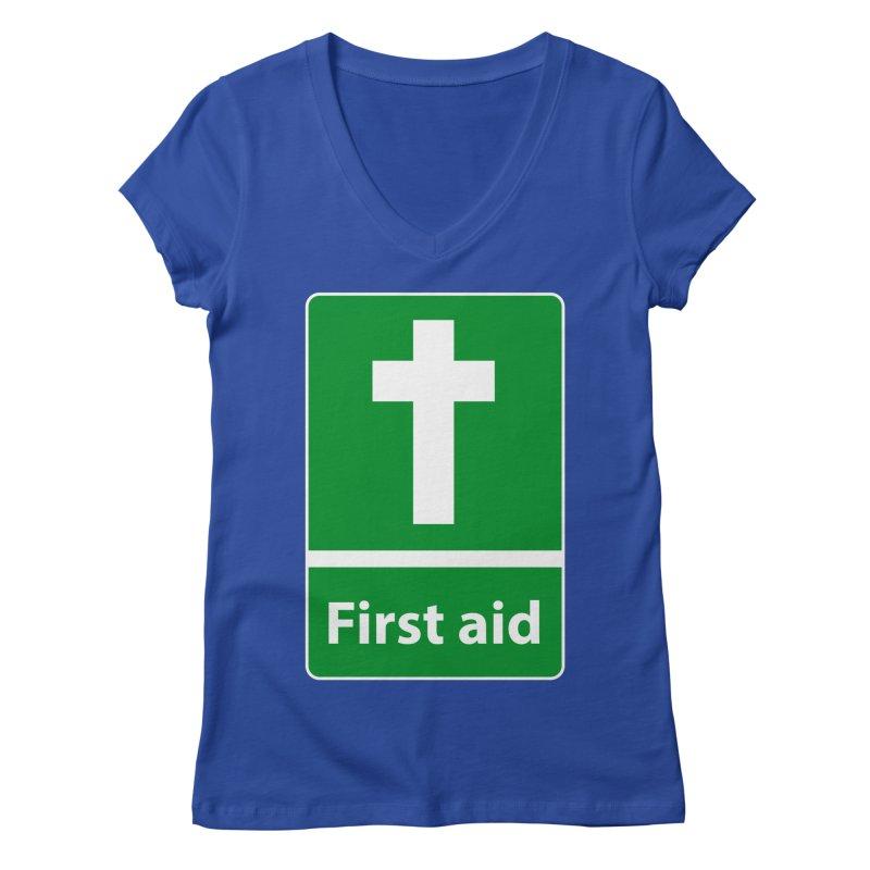 First Aid Cross Women's V-Neck by Kelsorian T-shirt Shop