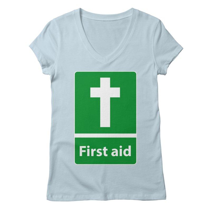 First Aid Cross Women's Regular V-Neck by Kelsorian T-shirt Shop