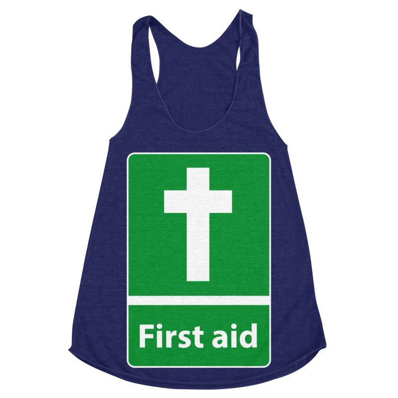 First Aid Cross Women's Racerback Triblend Tank by Kelsorian T-shirt Shop