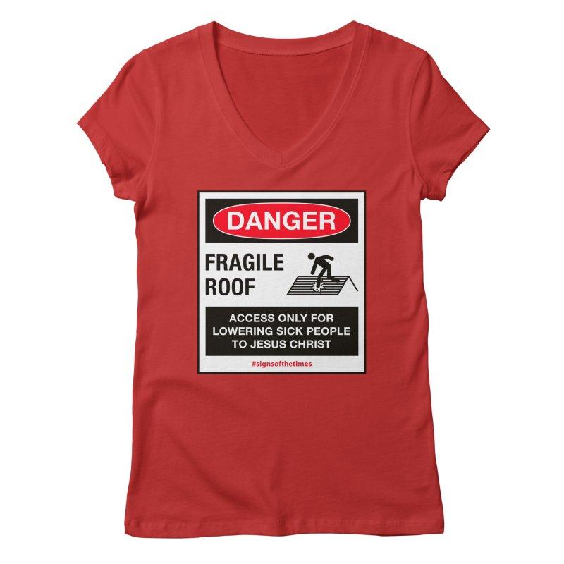 Fragile Roof for Jesus Women's Regular V-Neck by Kelsorian T-shirt Shop
