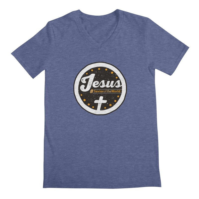 Jesus the Savior Emblem Men's Regular V-Neck by Kelsorian T-shirt Shop